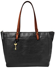Rachel Leather Tote With Zipper