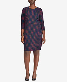 Lauren Ralph Lauren Plus Size Polka-Dot-Print Dress