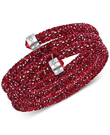 Swarovski Stainless Steel Crystal Rock Triple-Wrapped Bangle Bracelet