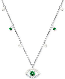 "Swarovski Silver-Tone Crystal & Imitation Pearl Evil Eye Pendant Necklace, 14-4/5"" + 4"" extender"