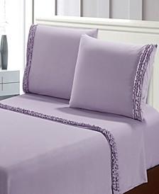 Bella Shabby Chic Easy Care Ruffled 4pcs Microfiber Bed Sheet Set