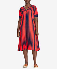 Lauren Ralph Lauren Plus Size Striped Cotton Dress
