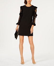 Laundry by Shelli Segal Ruffled Metallic-Inset Shift Dress