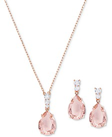"Crystal and Stone Pendant Necklace & Drop Earrings Set, 14-4/5"" + 3"" extender"