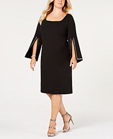 Calvin Klein Plus Size Split-Sleeve Sheath Dress
