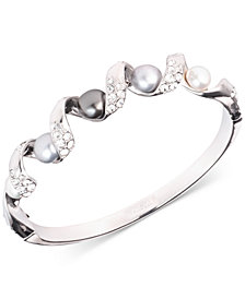 Carolee Silver-Tone Coil, Crystal & Freshwater Pearl (7-9mm) Bangle Bracelet