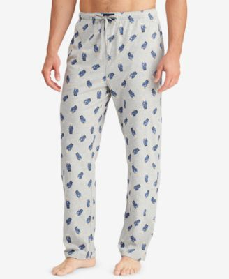 Men's Allover Polo Bear Cotton Pajama Pants