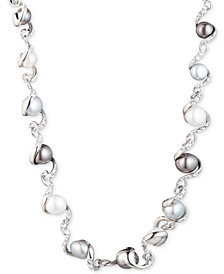 "Carolee Silver-Tone Twisted Ribbon, Crystal & Freshwater Pearl (9-11mm) 16"" Collar Necklace"