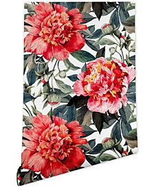 Deny Designs Marta Barragan Camarasa Big Red Watercolor Flowers Wallpaper