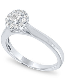 Diamond Round Halo Ring (1/3 ct. t.w.) in 14k White Gold