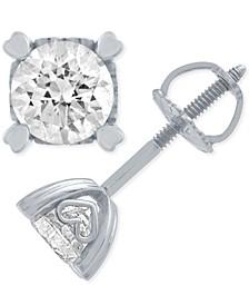 Diamond Stud Earrings in Heart Shape Prongs ( 1 ct. t.w.) in 14k White Gold