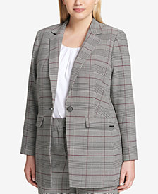 Calvin Klein Plus Size One-Button Plaid Blazer