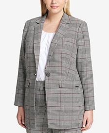 Calvin Klein Plus Size One-Button Plaid Blazer