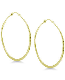 Essentials Textured Large Hoop Earrings in Gold Plate