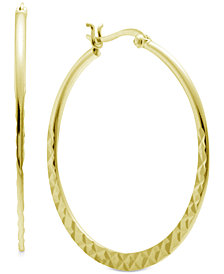 Essentials Textured Medium Hoop Earrings in Gold-Plate