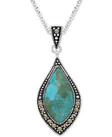 "Marcasite & Blue Stone 18"" Pendant Necklace in Fine Silver-Plate"