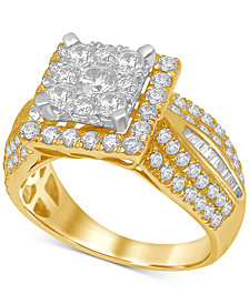 Diamond Square Cluster Ring (1-7/8 ct. t.w.) in Two-Tone 14k Gold