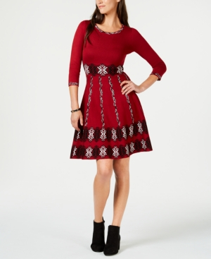 Taylor JACQUARD SWEATER FIT & FLARE DRESS