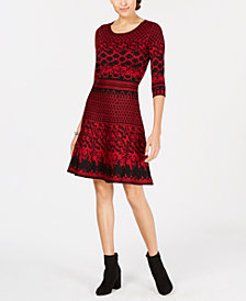 Taylor Jacquard Fit & Flare Sweater Dress