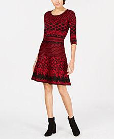 Taylor Jacquard Fit & Flare Sweater Dress
