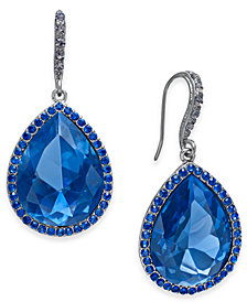 I.N.C. Hematite-Tone Blue Crystal Pear Drop Earrings, Created for Macy's