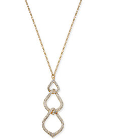 "I.N.C. Gold-Tone Pavé Interlocked Link Pendant Necklace, 32"" + 3"" extender, Created for Macy's"
