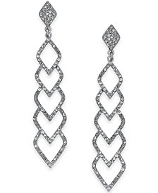 I.N.C. Silver-Tone Pavé Linear Drop Earrings, Created for Macy's