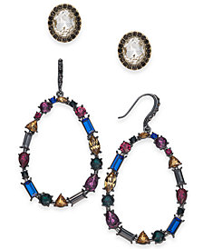 I.N.C. Day & Night Hematite-Tone 2-Pc. Set Coordinated Crystal & Stone Stud & Drop Earrings, Created for Macy's