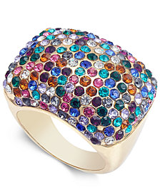 I.N.C. Gold-Tone Crystal Pavé Statement Ring, Created for Macy's