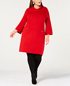 Jessica Howard Plus Size Cowl-Neck Sweater Dress