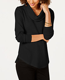 Style & Co Petite Cowl Neck Waffle Top, Created for Macy's