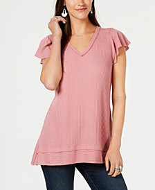 Style & Co Waffle-Knit Flutter-Sleeve Tunic, Created for Macy's