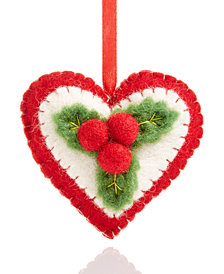 Global Goods Partners Felted Winterberry Holiday Heart Ornament
