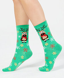 Charter Club Women's Reindeer Crew Socks, Created for Macy's