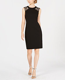 Vince Camuto Embellished Mesh Sheath Dress