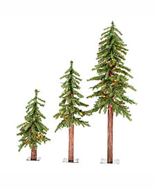4' 5' 6' Natural Alpine Artificial Christmas Tree Set with 500 Clear Lights