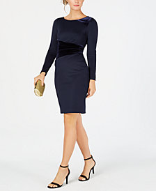 Vince Camuto Velvet-Trim Bodycon Dress