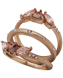 lonna & lilly Gold-Tone 3-Pc. Set Crystal & Stone Rings, Created for Macy's