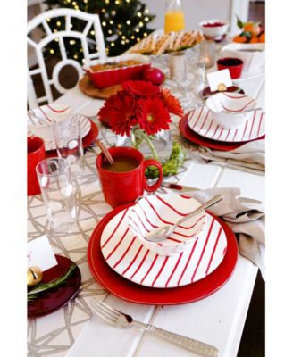 Net & Stripe Red Stripe Medium Oval Platter