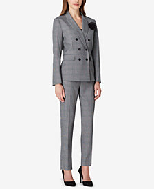 Tahari ASL Petite Menswear Plaid Double-Breasted Pant Suit