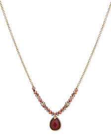 "lonna & lilly Gold-Tone Crystal, Bead & Stone Pendant Necklace, 16"" + 3"" extender, Created for Macy's"