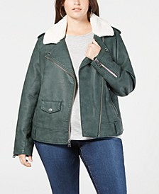 Plus Size Faux-Leather Fleece-Trimmed Moto Jacket