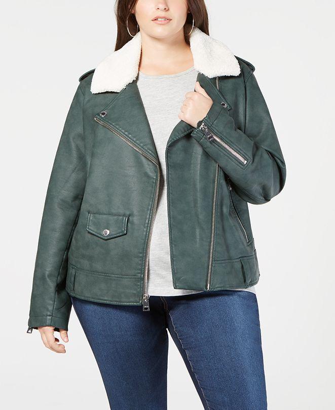 Levi's Plus Size Faux-Leather Fleece-Trimmed Moto Jacket
