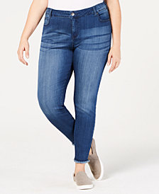 Celebrity Pink Plus Size Raw-Hem Skinny Ankle Jeans