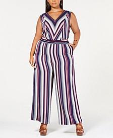 Trendy Plus Size Striped Jumpsuit