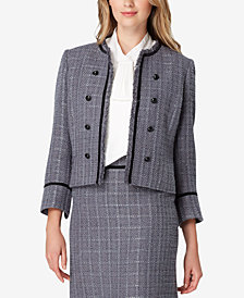 Tahari ASL Metallic Tweed Collarless Jacket
