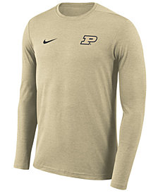 Nike Men's Purdue Boilermakers Long Sleeve Dri-FIT Coaches T-Shirt