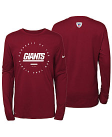 Nike New York Giants Prop Of Long Sleeve T-Shirt, Big Boys (8-20)