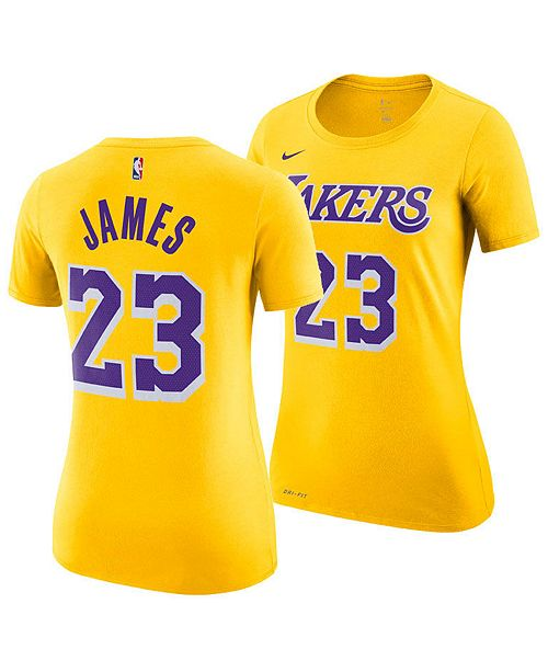 new product 14e6f a4c72 Women's LeBron James Los Angeles Lakers Name & Number Player T-Shirt