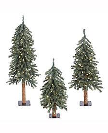 Vickerman 2' 3' 4' Natural Bark Alpine Artificial Christmas Tree Set with 185 Warm White LED Lights